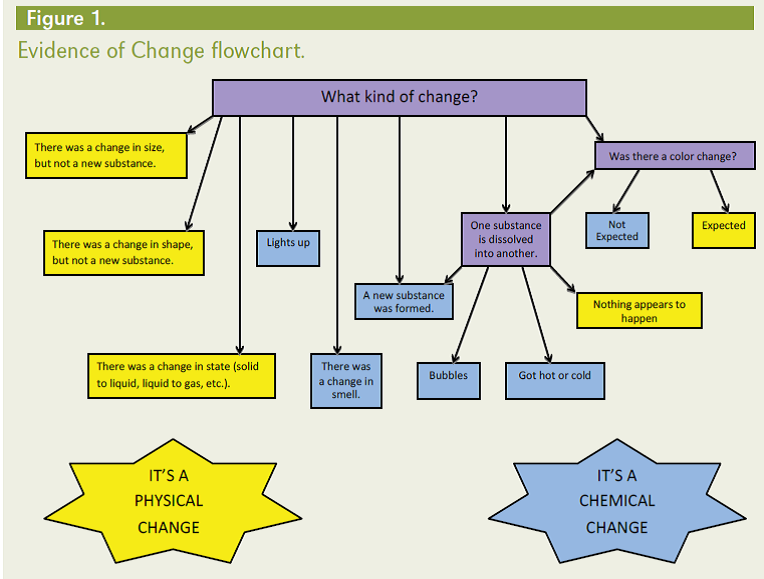 Evidence Of Change Flow Chart Kitchen Chemistry Chemical Change
